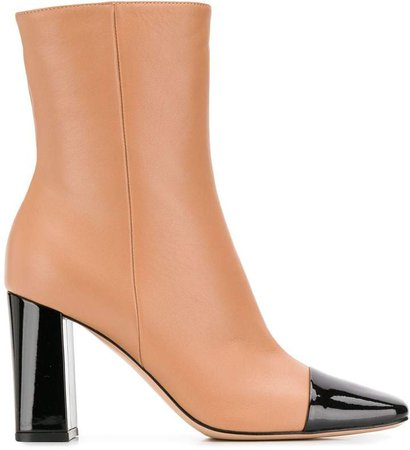 patent panelled ankle boots