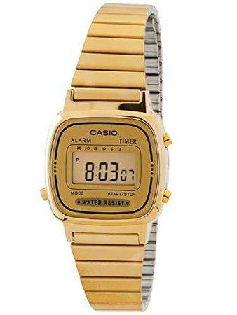 Amazon.com: Casio Women's LA670WGA-9 Gold Stainless-Steel Quartz Watch with Digital Dial: Casio: Watches