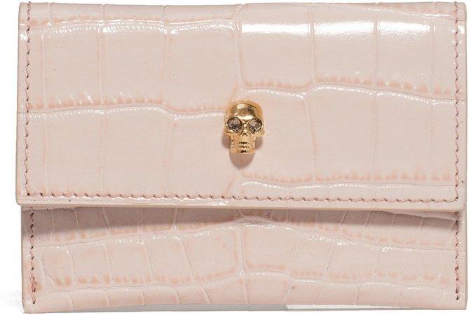 Croc Embossed Leather Card Holder