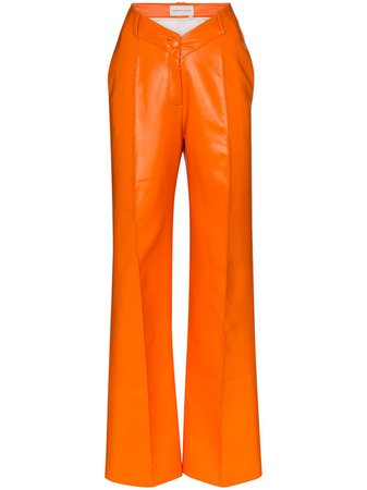 Aleksandre Akhalkatsishvili V-Waist Wide-Leg Trousers AASS20PA003OR Orange | Farfetch