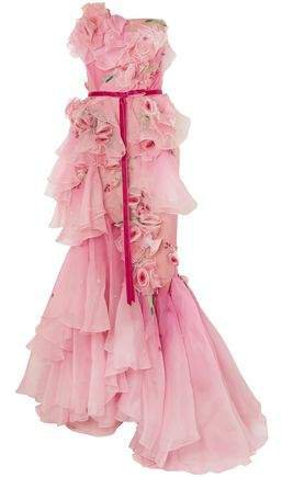 Strapless Embellished Ruffled Degrade Organza Gown