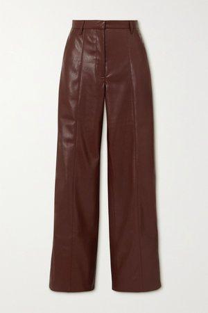 Brown Cleo vegan stretch-leather wide-leg pants   Nanushka   NET-A-PORTER