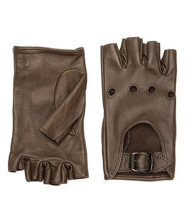 Brown Leather Fingerless Gloves