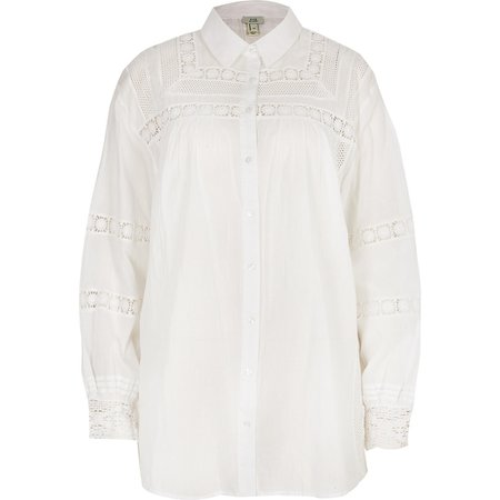 White long sleeve embroidered shirt | River Island