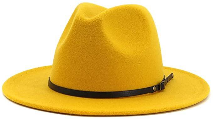 Lisianthus Women Belt Buckle Fedora Hat (Yellow) at Amazon Women's Clothing store