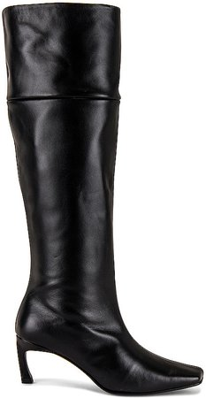 Pointed Square Mid Heel Long Boots