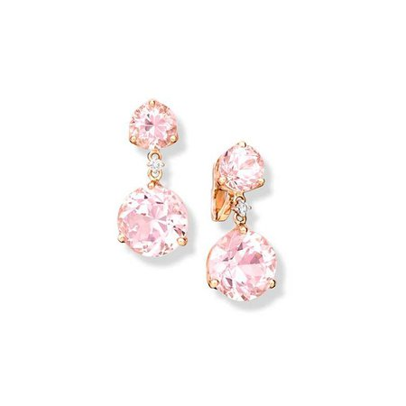 Riviere Double Pink Kunzite and Diamond Rose Gold Earrings