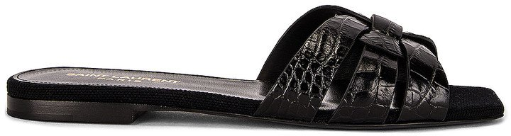 Embossed Croc Nu Pieds Slide Sandals in Nero | FWRD