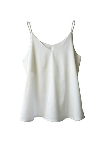 Wantschun Womens Silk Satin Camisole Cami Plain Strappy Vest Top T-Shirt Blouse Tank Shirt V-Neck Spaghetti Strap XXS-4XL at Amazon Women's Clothing store