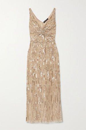 Gold Meredith embellished tulle midi dress | Jenny Packham | NET-A-PORTER