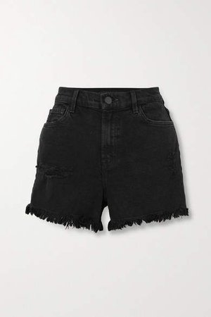 Jules Frayed Denim Shorts - Black