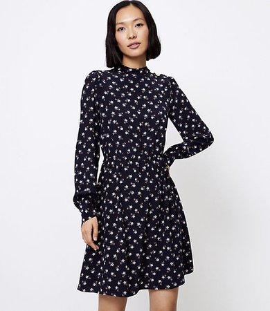 Petite Floral Shoulder Button Flare Dress