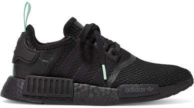 Nmd_r1 Rubber And Leather-trimmed Stretch-knit Sneakers - Black