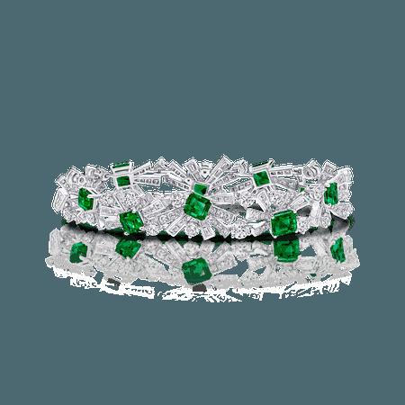 Colombian Emerald and Diamond Threads Bracelet, Emeralds 9.79 cts, Graff