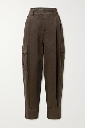 Pleated High-rise Tapered Jeans - Dark brown