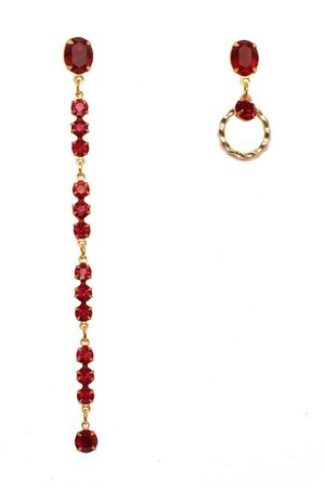 Berlin | FINERBLACK RUBY Asymmetric Earrings - Crystal Red