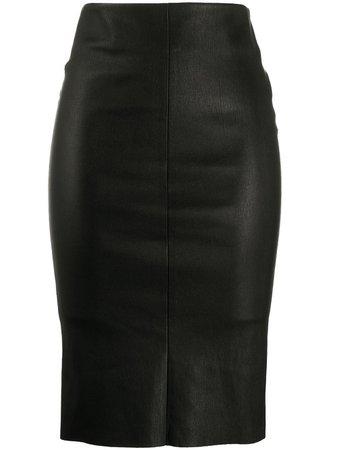 Drome Leather Pencil Skirt DPD1306D1835800 Black | Farfetch