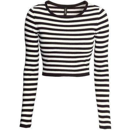 Long sleeve stripe crop top