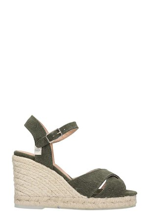 Castañer Blaudell 8 Wedges In Green Canvas