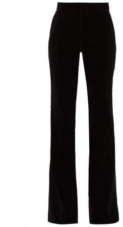 Flared Velvet Cotton Blend Trousers - Womens - Black