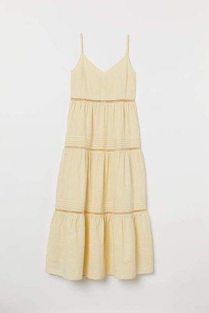 V-neck Cotton Dress - Yellow