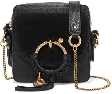 Square Textured-leather And Suede Shoulder Bag - Black