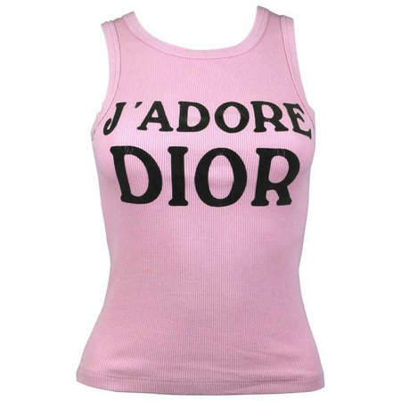 """Christian Dior """"J'adore"""" Dior Pink Ribbed Cotton Tank top, A/W 2001 , size 4 US at 1stdibs"""