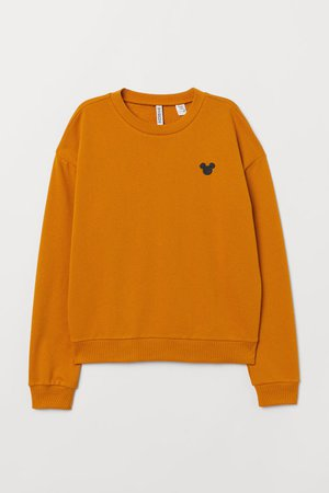 Sweatshirt with Embroidery - Mustard yellow/Mickey Mouse - | H&M US
