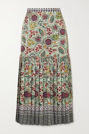 Saloni | Diana pleated printed satin midi skirt | NET-A-PORTER.COM