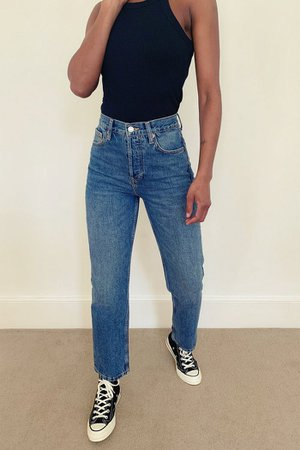 Mid Blue Straight Jeans | Topshop