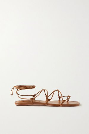 Tan Knotted leather sandals | Porte & Paire | NET-A-PORTER