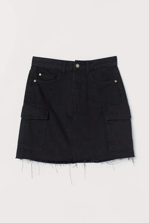 Denim Cargo Skirt - Black