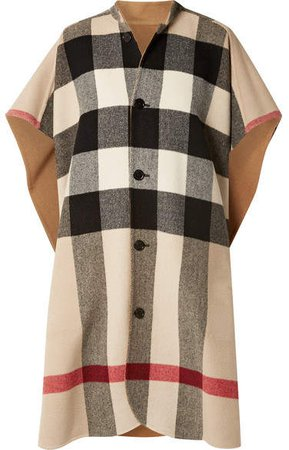 Reversible Checked Wool-blend Cape - Camel