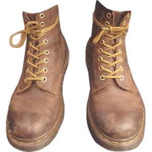 Brown Boots PNG Yellow Strings