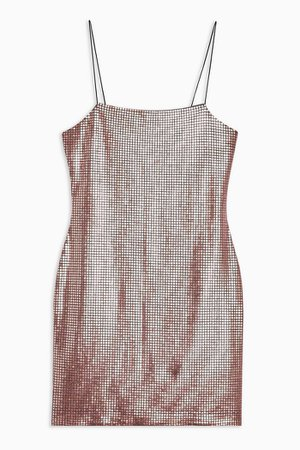 Rose Gold Holographic Bodycon Mini Dress | Topshop