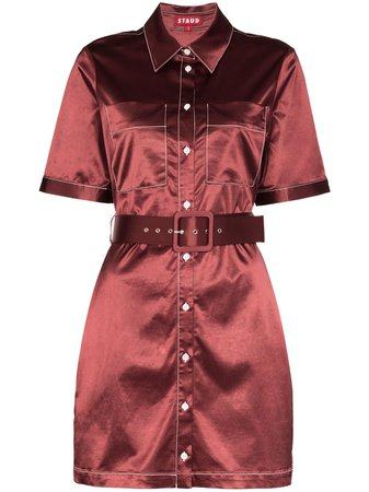 Shop red STAUD Bentley belted shirt dress with Express Delivery - Farfetch