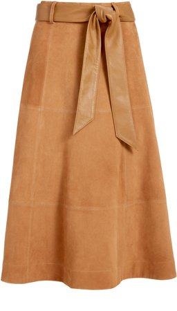 Martine Belted Suede Midi Skirt