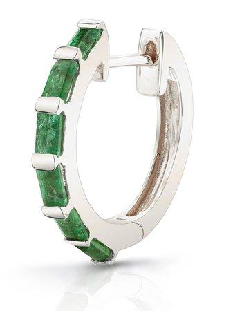 SHAY 18kt White Gold Emerald Baguette Huggie Earrings - Farfetch