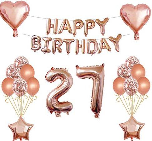 Happy Birthday pink number 27