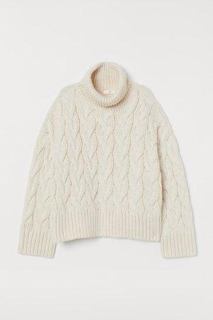 Cable-knit polo-neck jumper - Cream - Ladies   H&M GB