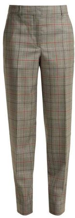 Wall Street Prince Of Wales Checked Wool Trousers - Womens - Grey Multi