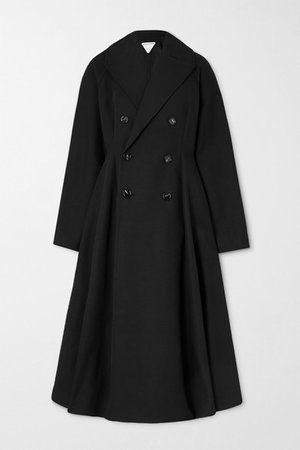 Belted Double-breasted Cotton-canvas Trench Coat - Black