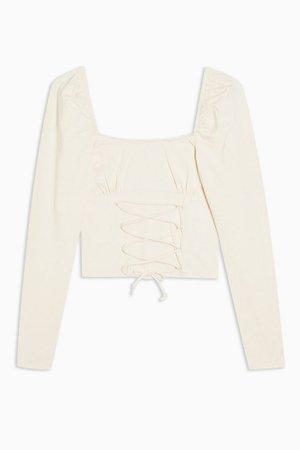 Cream Long Sleeve Corset Top | Topshop