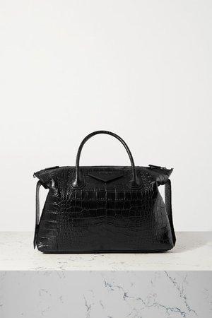 Antigona Soft Medium Croc-effect Leather Tote - Black