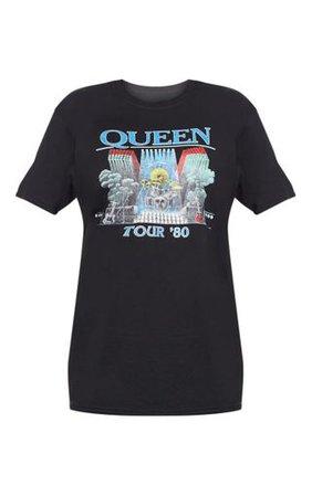 Black Queen Tour Print Oversized T Shirt   PrettyLittleThing