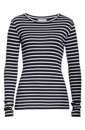 Vince Feeder Stripe Long Sleeve Pima Cotton Blend Top   Nordstrom