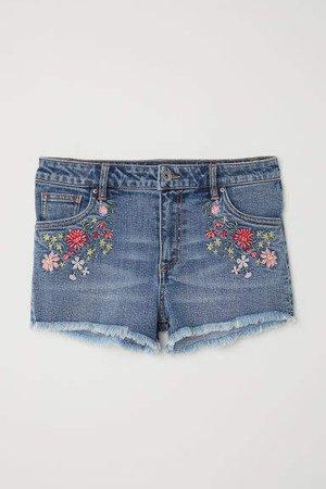 Embroidered Denim Shorts - Blue
