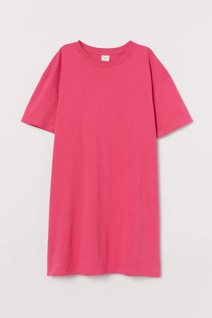 Cotton T-shirt Dress - Pink
