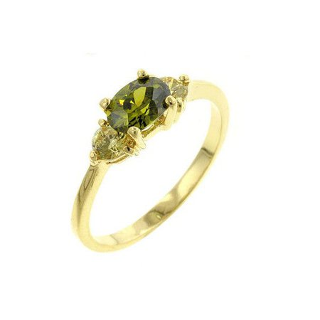 Olive Green-Yellow Cubic Zirconia Ring