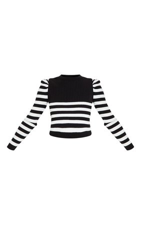 Black Puff Sleeve Stripe Knitted Crop Jumper - New In Today - New In | PrettyLittleThing USA